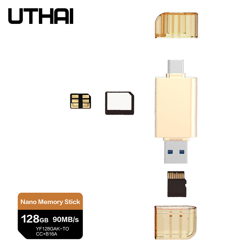 UTHAI D39 For HUAWEI NM Card Reader Type-C To Micro SD/USB3.0 Adapter For Nano Memory Card 128G 90mb/s Read For Mate 20 Pro P30