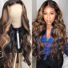 Póker-pelucas de cabello humano con encaje Frontal, pelucas de cabello humano Remy de 28 30 pulgadas con efecto ombré, efecto de resaltar cara, cuerpo ondulado 13x4