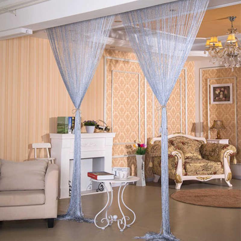 Shiny Quaste Silber Linie String Vorhang Mode Volant Wohnzimmer Teiler Hochzeit DIY Dekoration Fenster Tür 300x290 cm