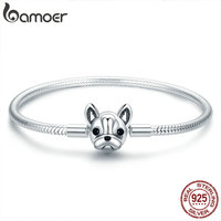 BAMOER 100% Genuine 925 Sterling Silver French Bulldog Doggy Snake Chain Women Bracelet & Bangles Silver Jewelry 17 19CM SCB075
