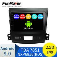 FUNROVER android 9.0 car dvd gps multimedia player radio For Mitsubishi Outlander 2006-2014 Peugeot 4007/Citroen C-Crosser 2.5D
