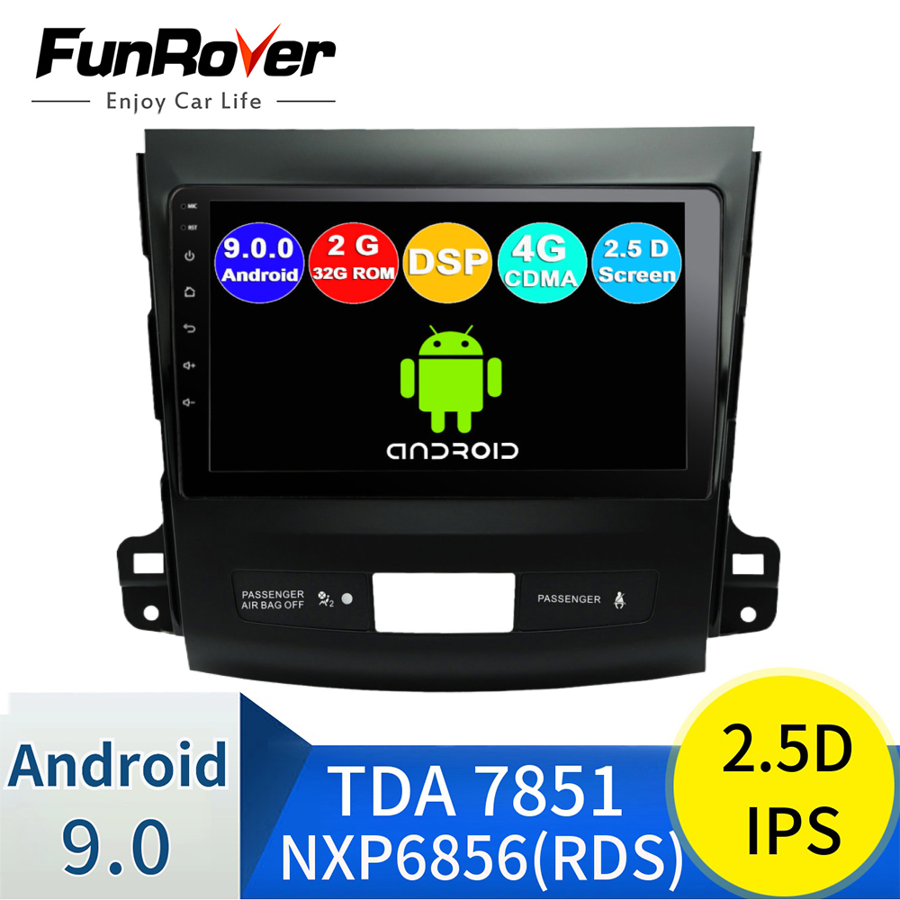 Funrover Штатное Головное устройство For Mitsubishi Outlander xl /4007 GPS Android 9.0 aвтомагнитола магнитола автомагнитолы Андроид для Мицубиси Аутлендер 2 аксесс