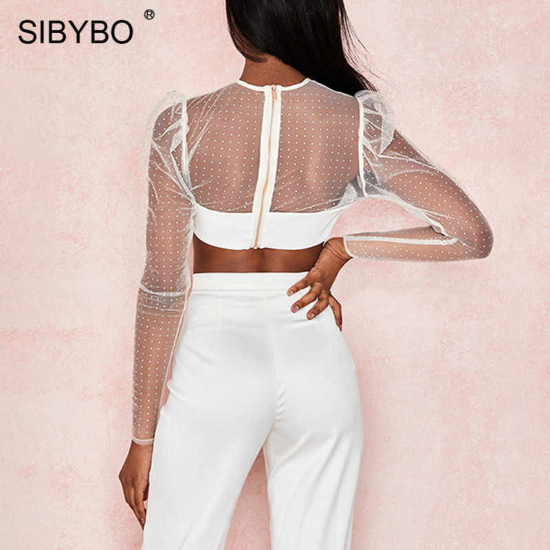 SIBYBO ダイヤモンドにスプライシング透明メッシュセクシーな女性は長袖スリム夏 Tシャツ女性ホワイトビーチ着用トップ女性