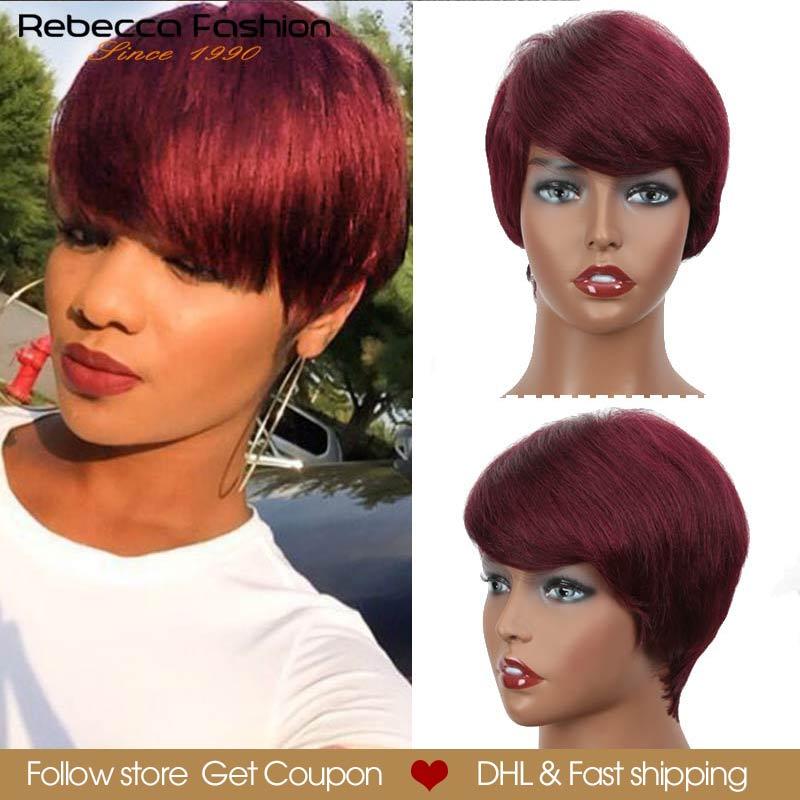 Rebecca Short Straight Hair Wig Peruvian Remy Human Hair Wigs For Black Women Brown Red Full Wig Cheap Wholesale Hair Bangs Wig