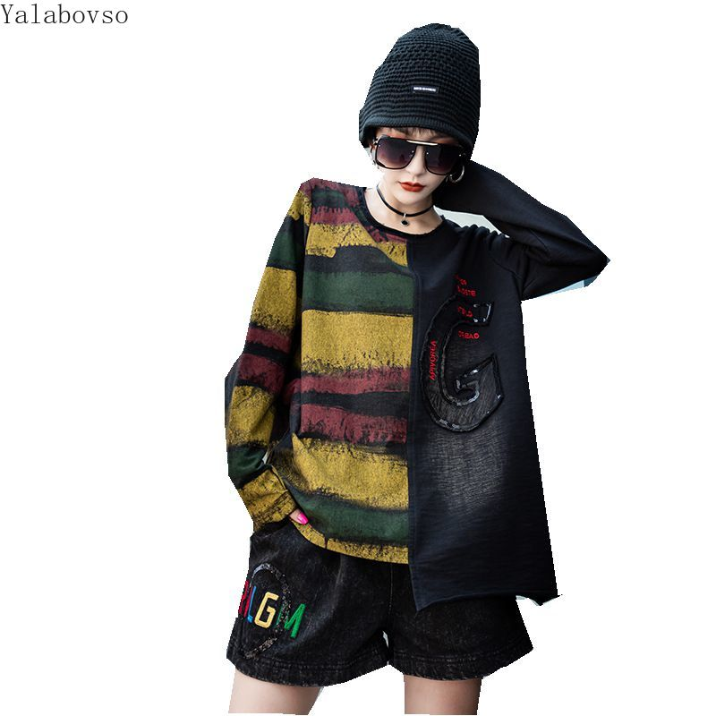 Streetwear Loose Hoodies High Street Letter Printing Tops  Autumn And Winter New Long Loose Knit Top O Neck Top Female Z3