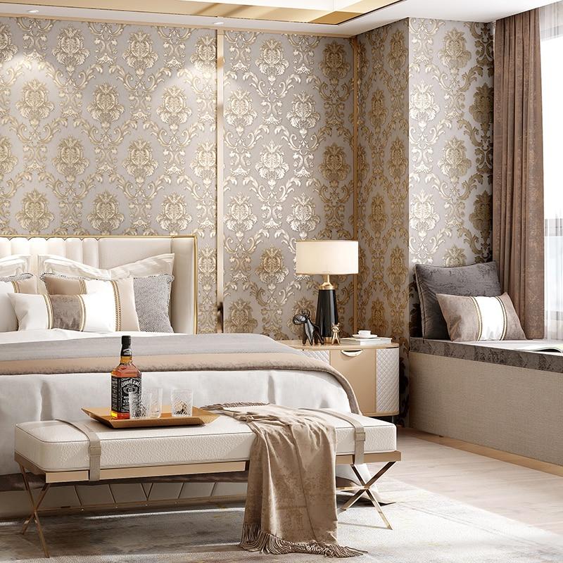 33 Beige Living Room Ideas: Beige-grey Gold Textured Luxury Classic 3D Damask