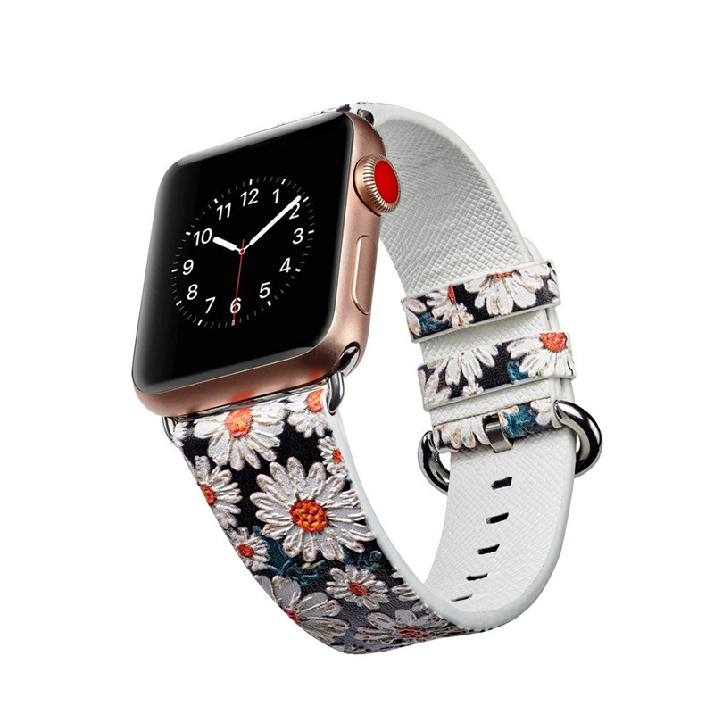 Suitable For APPLE Watch4 S Universal Coloured Drawing Pastoral Style Leather Watch Strap IWatch Classic Buckle Printed