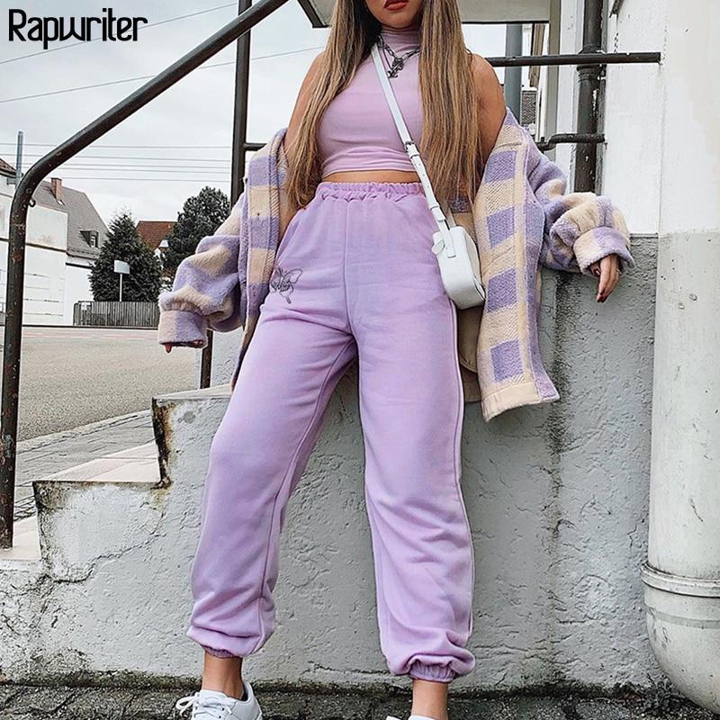 Rapwriter Butterfly Print Loose Pants Women Summer 2020 Stretch High Waist Pants Streetwear Joggers Women Pencil Pant Purple