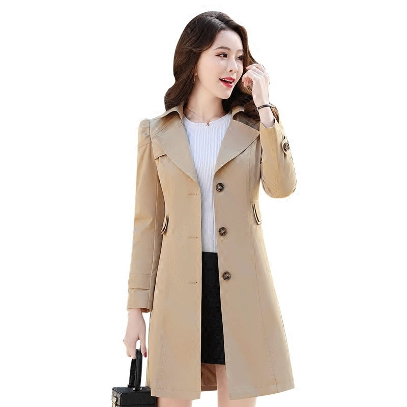 Trench-Coat Windbreakers Spring Autumn Long Plus-Size Woman Slim Femmino title=