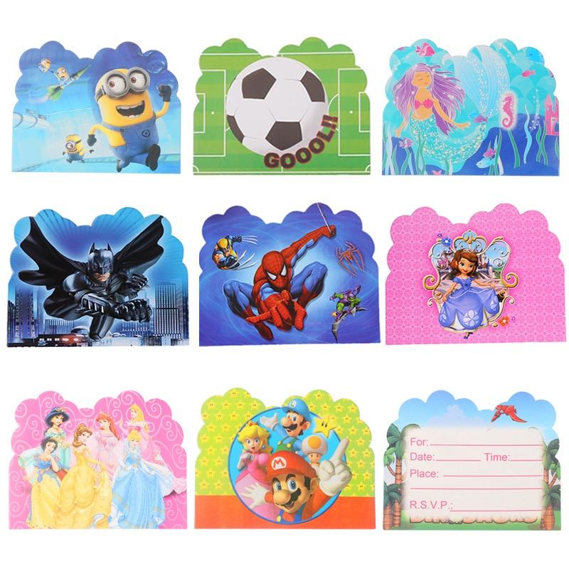 0 77 32 De Descuento 10 Unids Lote Tarjeta De Invitación Batman Spiderman Princesa Mario Vengadores Unicornio Niños Cumpleaños Invitación