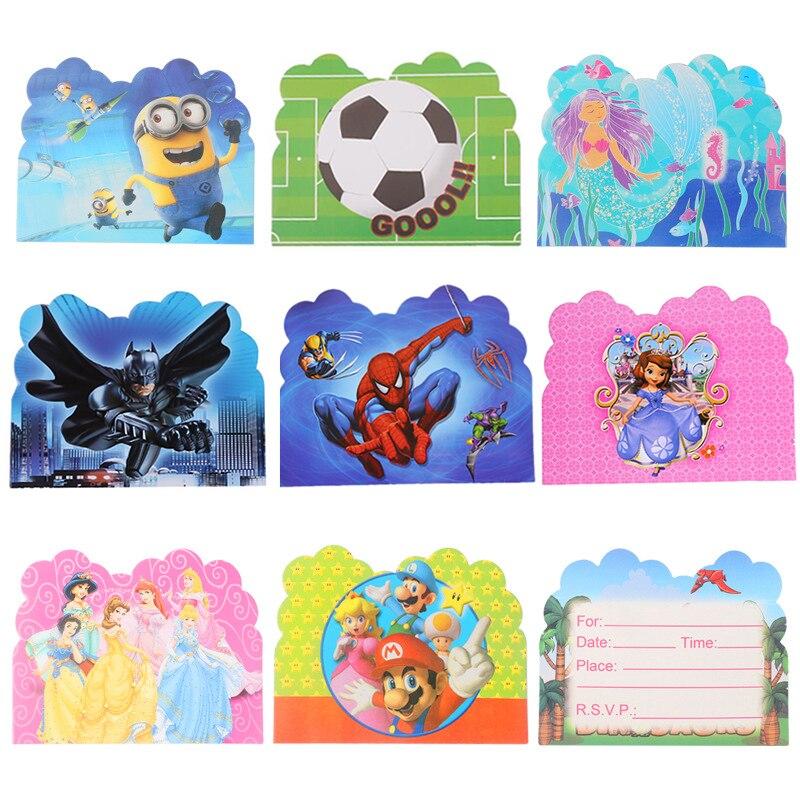 Us 0 84 32 Off 10pcs Lot Invitation Card Batman Spiderman Princess Mario Avengers Unicorn Children Birthday Invitation Card Party Supplies In Cards
