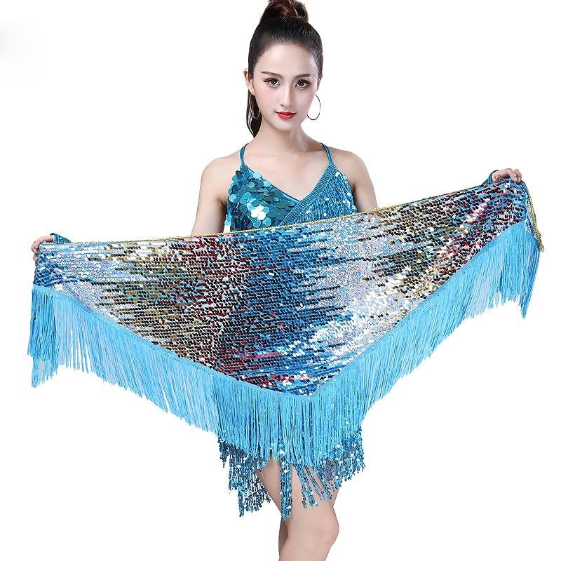 16 barv trebušni plesni dodatki dodatki z dolgimi resicami trikotniki pasovi trebušni ples hip hop šal trak pas kolk za ženske