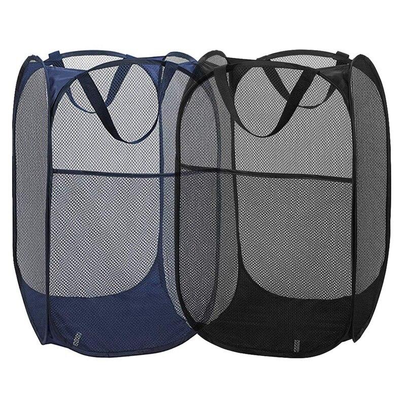 HOT SALE 2Pcs Mesh Pop-Up Laundry Basket For Easy Storage And Folding Pop-Up Clothes Basket