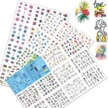 12pcs/set Nail Art Slider Transfer water Decals Black Geometric Letters Nail Sticker Black Letter Water Slider sexy girl Summer