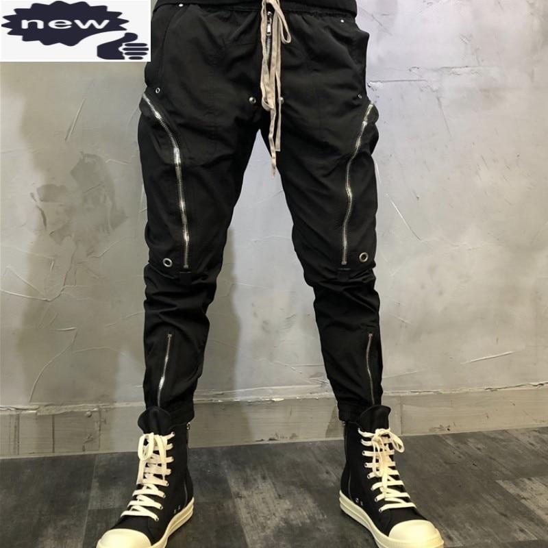 Fashion Zipper Pockets Black Cargo Pants High Street Mens Lace Up Slim Fit Biker Pencil Trousers Hip Hop Male Casual Sweatpants