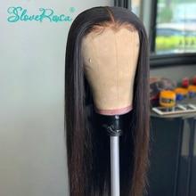 130% densité droite 13X4 dentelle avant perruques de cheveux humains pour les femmes noires brésilien Remy cheveux pré plumé blanchi noeud Slove Rosa