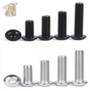 10/50pcs M2 M2.5 M3 M4 M5 M6 304 A2-70 Stainless Steel Black grade 10.9 ISO7380 Hexagon Hex Socket Head Button Allen Bolt Screw