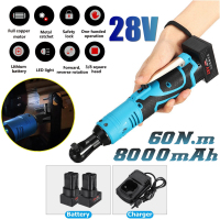 28V 8000mAh 60N.m 3/8 LED Lighting Cordless Electric Ratchet Wrench Set with 2pcs Li Ion Battery