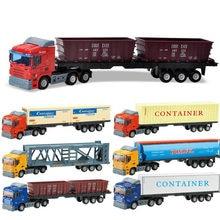 Modèle de voiture en alliage métallique, conteneur de camion moulé sous pression, jouets éducatifs pour enfants, cadeau d'anniversaire de noël pour garçons