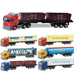Alloy Metal Car Model Container Truck Diecast Model Educational Toys For Children Kids Christmas Birthday Gift For Boys Vehicle