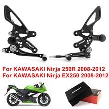 цены Motorcycle Footrest Pedal Foot Pegs CNC Aluminum For kawasaki Ninja 250 EX250 2008 2009 2010 2012