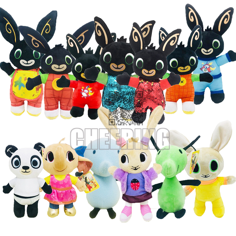 Free Shipping Bing Stuffed Toy Pando Coco Hoppity Animation Peluche Sula Elephant Flop Cotton Plush Dolls For Children Gift