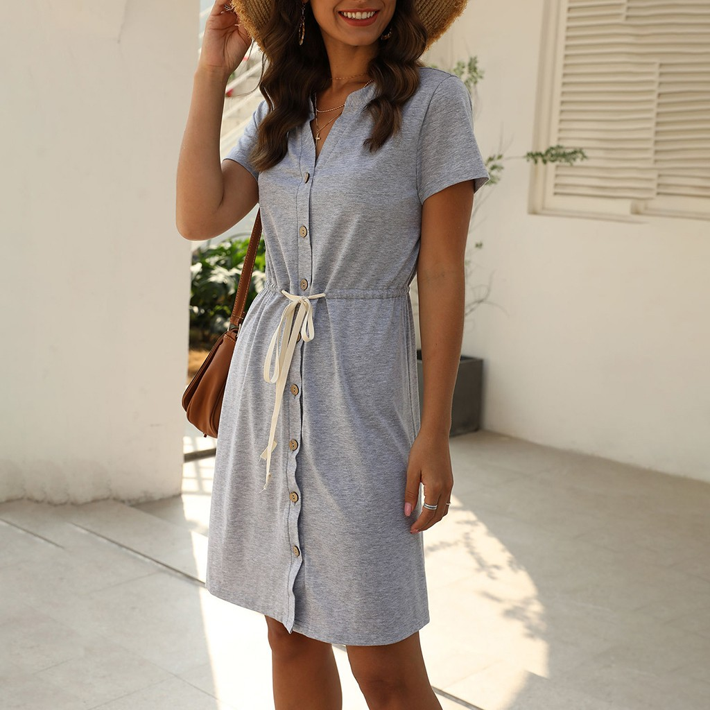 Women's V-Neck Dress Solid Color Loose Mini Dresses Short Sleeves Buttons Drawstring Dress Summer Spring Dresses##5