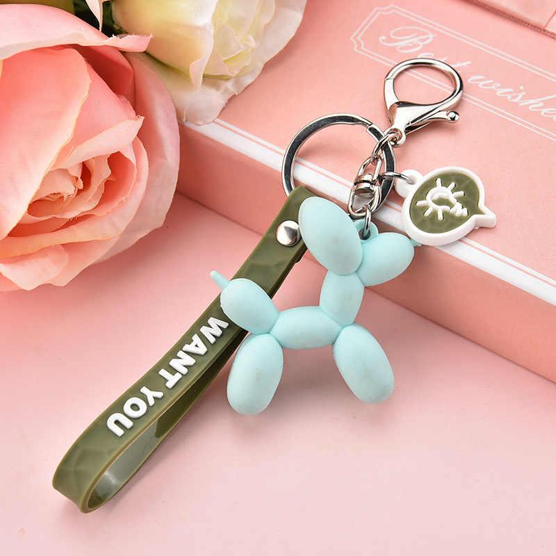 2019 ใหม่แฟชั่นน่ารักสุนัขบอลลูนพวงกุญแจแหวนแฟชั่นผ้าฝ้ายการ์ตูน PU รถกระเป๋าจี้ Key chain ของขวัญ
