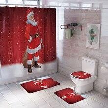 4 шт., Рождественский комплект, нескользящий коврик из полиэстера для туалета, комплект для ванной, занавески для душа, коврик для ванной комнаты, занавеска для душа