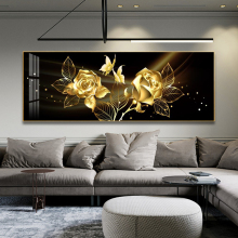 Black Golden Rose Flower Butterfly Abstract Wall Art Canvas Painting Poster Print Horizonta Picture for Living bedRoom Decor