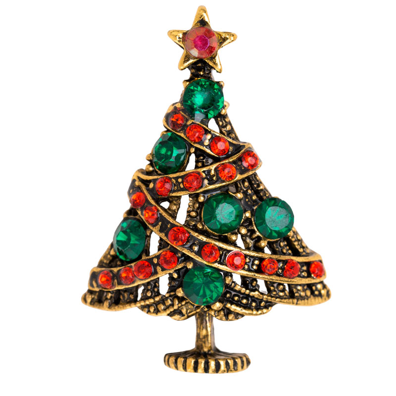Rhinestone Christmas Tree Brooch Fashion Christmas Brooch Pins Jewelry Accessories Fashion Jewelry New