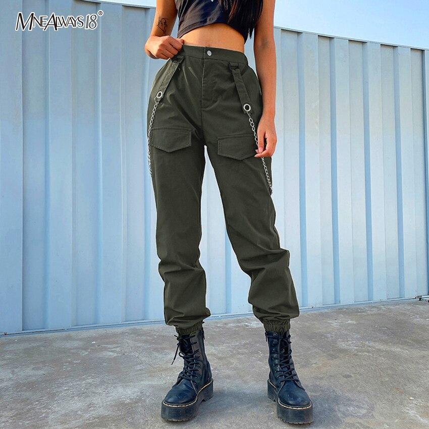 Mnealways18 Pantalones Cargo De Moda Para Mujer Pantalones Casuales De Cintura Alta Cadena Ropa Informal Estilo Hip Hop Pantalones De Primavera 2020 Pantalones Para Mujer Pantalones Y Pantalones Capri Aliexpress