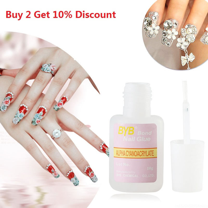 Buy 2 Get 10% 10g Nail Glue With Brush For False Nail Adhesive Acrylic Nail Art Decoration Fast Drying Colle Faux Ongle TSLM1