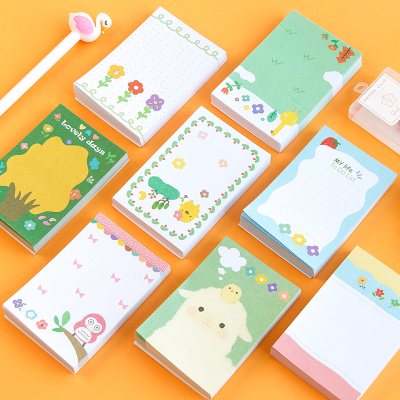 100 Sheets Kawaii Cartoon Animal Flower Sticky Notes Memo Pad Diary Stationary Flakes Scrapbook Decorative Cute N Times Sticky