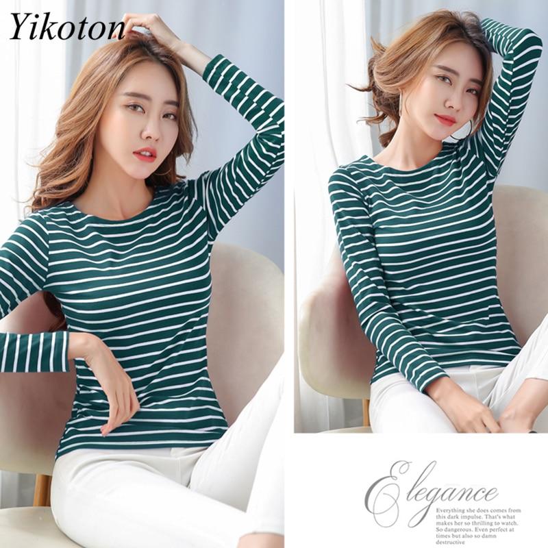 Long Sleeve Basic T Shirt Female Women's Black White Striped Plus Size 5XL Tshirt Cotton 2021 Spring Autumn Tee Shirt Ladies Top 3