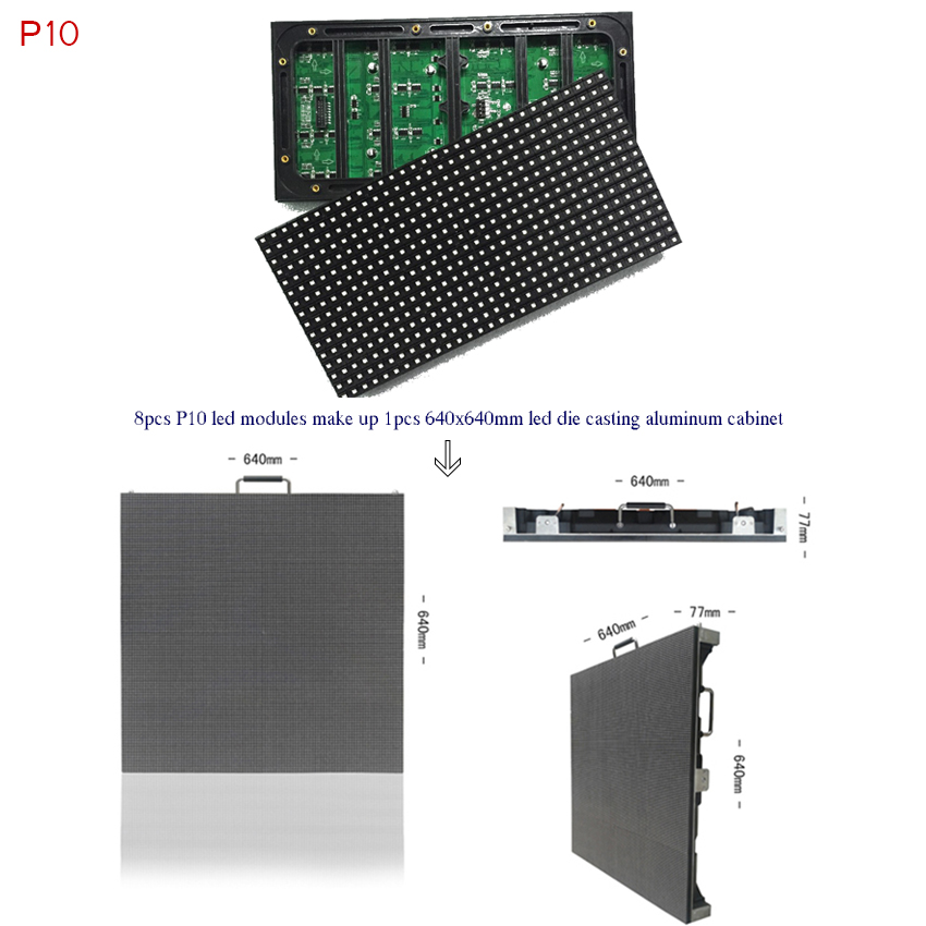 HD LED Display 32x16dots 320*160mm P10 Full Color Led Module For Outdoor Adertising Billboard Screen