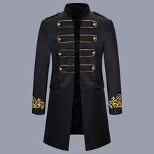 MJARTORIA Mens Black Embroidery Suit Jacket Steampunk Vintage Tailcoat Men Gothic Victorian Prom Stage Costume Homme