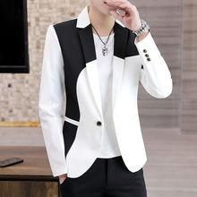 Jacket Blazer Black Stylish Red Fashion Club Stitching Patchwork Spring Party Single-Button