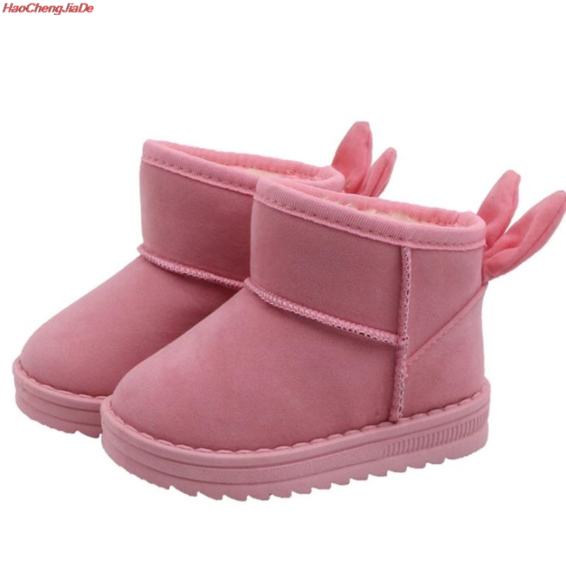 Snow Boots Kids Winter Leather Boots For Girls Boys New Fur Rabbit Ears Shoes Children Boots With Fur Warm Botas