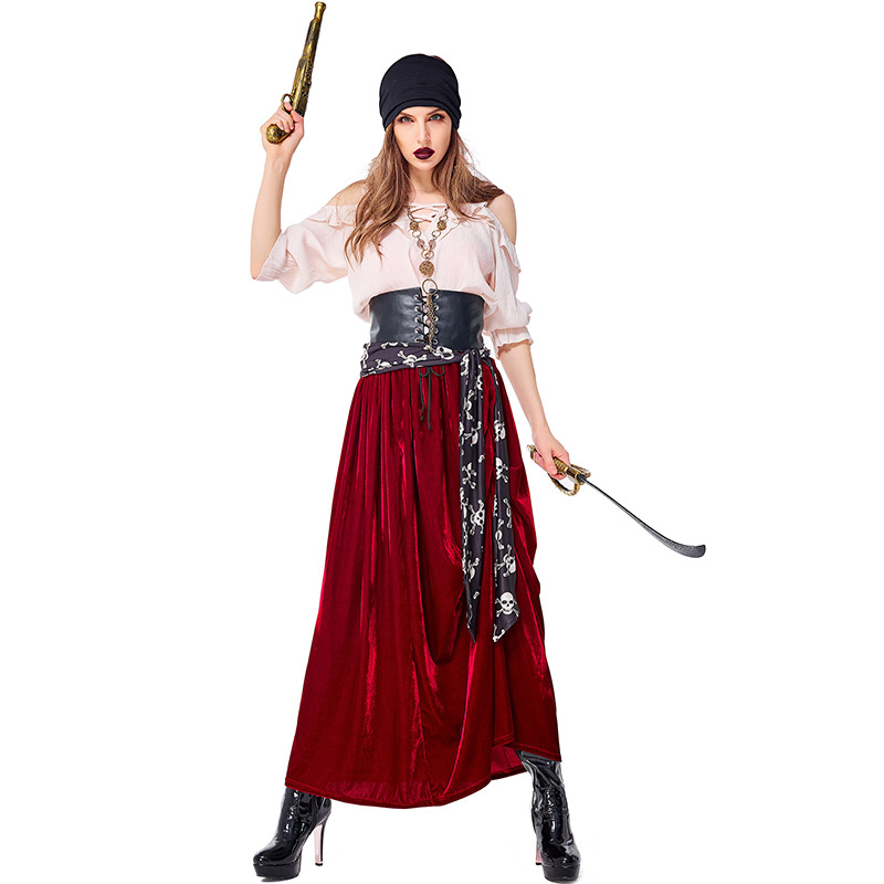 Men Caribbean Bandana Deluxe Black Model Pirates Fancy Outfit Accessory