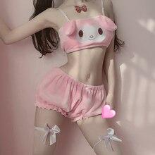 Conjunto de Top y bragas de tubo de terciopelo Kawaii para niñas, disfraces de Cosplay de Anime Sexy, sujetador y bombachos con orejas largas, color rosa y blanco