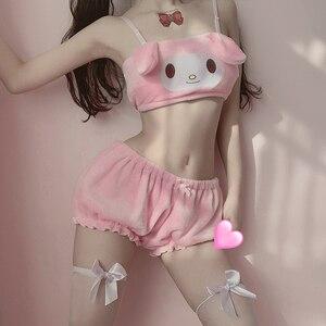 Image 1 - Conjunto de Top y bragas de tubo de terciopelo Kawaii para niñas, disfraces de Cosplay de Anime Sexy, sujetador y bombachos con orejas largas, color rosa y blanco