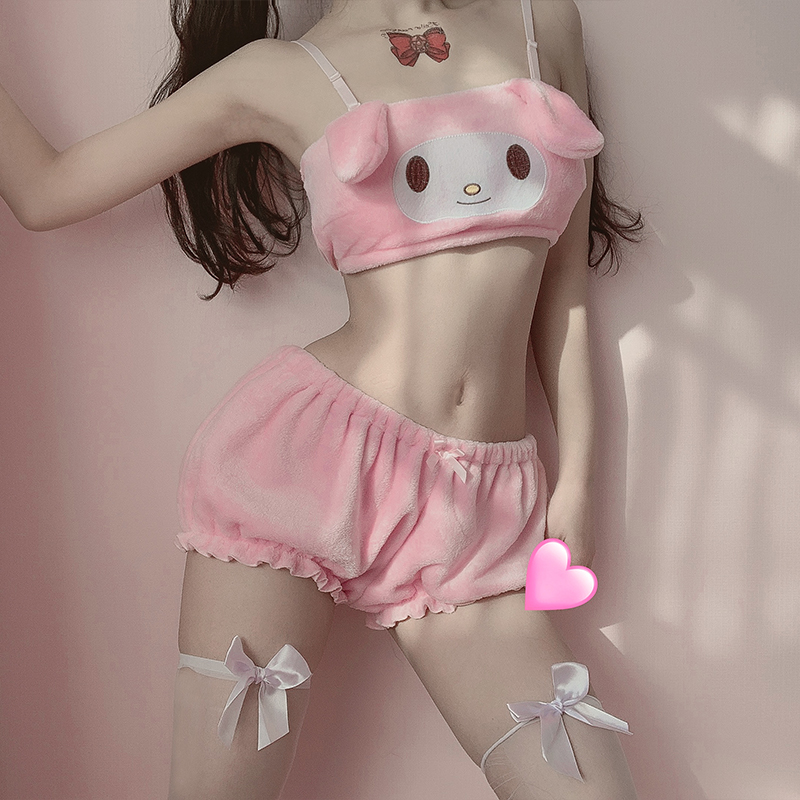 Kwaii Velvet Tube Top And Panties Set For Young Girls Sexy Anime Cosplay Costumes Long Ear Doggy Bra And Bloomers Pink White