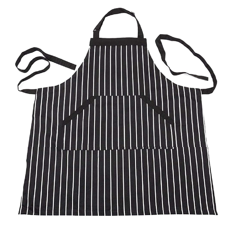 Adjustable Black Stripe Bib Apron With 2 Pockets Cook Tool (Black)