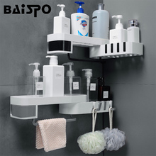 BAISPO Creative Bathroom Shelf Rotatable Storage Shelf For Toilet Kitchen Home Organizer With Hook Bathroom Accessories