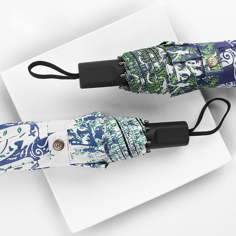 New Style Three-fold Umbrella Ultra-Light Happiness Tree Parasol Vinyl Parasol UV-Protection Rain Or Shine Dual Purpose Umbrella