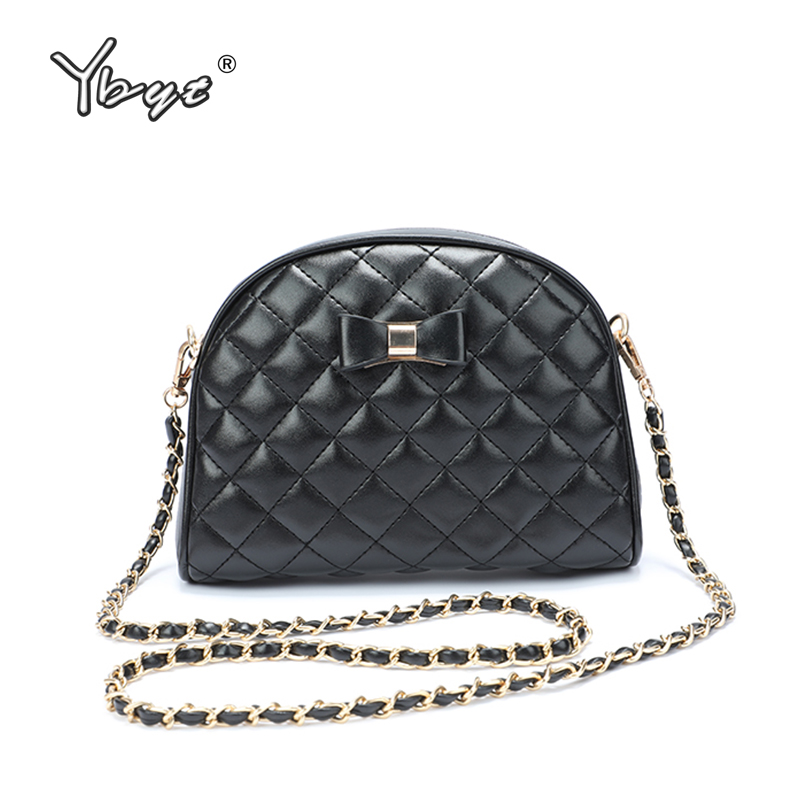 YBYT New Fashion Bow Women Shoulder Bags Diamond Lattice Flap Female Crossbody Bags PU Leather Female Chain Bag Bolsas Feminina