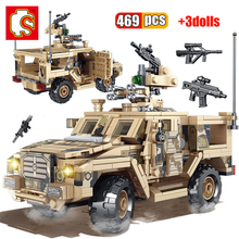 SEMBO 469Pcs Military Army Mine Protected Vehicle Building Blocks Soldier SWAT War Weapons Model Educational Bricks Toys For Boy