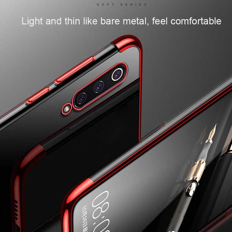 3 em 1 A3 Lite Capa De Silicone Transparente Para Xiao mi mi mi 9 se 9T pro Vermelho mi 7A K20 nota 6 7 pro Chapeamento Ultra Fino TPU Capa