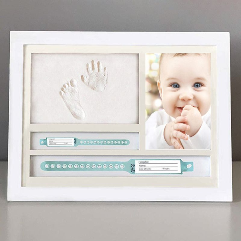 One Year Old Baby Infants Gifts Newborn Hand And Foot Prints Print Mud Photo Frame Commemorative Table Decoration Frames